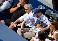 Tennis - 2019 Queen's Club Fever-Tree Championships - Day Six, Saturday<br /> <br /> Men's Singles, Semi Final: Felix Auger-Aliassime (CAN) Vs. Feliciano Lopez (ESP)<br /> <br /> Football Coach Jose Mourinho takes his seat in the camp of Feliciano Lopez (ESP) on Centre Court.<br />  <br /> COLORSPORT/DANIEL BEARHAM