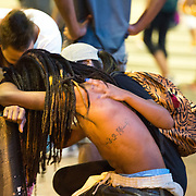 Charlotte, NC- September 21, 2016:   A protestor is consoled after he witness the shooting of Justin Carr outside the Omni Hotel in uptown Charlotte. Carr was shot and killed by an unknown assailent however the Charlotte Mecklenburg Police Department opened a homicide investigation to search for the killer.  CREDIT: Logan R Cyrus
