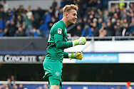 QPR goalkeeper Joe Lumley (26) celebrates a Queens Park Rangers FC goal (score 1-1) during the EFL Sky Bet Championship match between Queens Park Rangers and Birmingham City at the Loftus Road Stadium, London, England on 28 April 2018. Picture by Andy Walter.