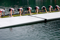 Bronze Polish Men's Eight after the medal ceremony in finish area during Final A at Rowing World Cup  on May 30, 2010, at Bled's lake in Zaka, Bled, Slovenia. (Photo by Vid Ponikvar / Sportida)