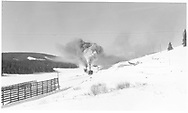 Distant view of RGS #461 and leased D&RGW #452 approaching Lizard Head in winter with a short northbound freight.<br /> RGS  Lizard Head, CO  Taken by Richardson, Robert W. - 11/19/1951<br /> Thanks to Don Bergman for additional information.