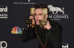 May 1, 2019 - Las Vegas, NV, USA - LAS VEGAS, NEVADA - MAY 01: Brendon Urie of Panic! at the Disco poses with the award for Top Rock Song for ''High Hopes'' in the press room during the 2019 Billboard Music Awards at MGM Grand Garden Arena on May 01, 2019 in Las Vegas, Nevada.  Photo: imageSPACE (Credit Image: © Imagespace via ZUMA Wire)