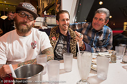 Joe Keravan of Jokers Skate Shop (L) with Cycle Zombies Chase Stopnik and Big Scott Stopnik in the Moon Cafe during the Monday night afterparty at Mooneyes Area One after the Mooneyes Yokohama Hot Rod & Custom Show. Yokohama, Japan. December 5, 2016.  Photography ©2016 Michael Lichter.