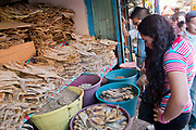 Food market and traders selling their wares and goods on display, salted Cod, San Cristobal de las Casas, Chiapas, Mexico.