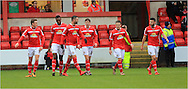 Marcus Haber Goal celebration during the Sky Bet League 1 match between Crewe Alexandra and Rochdale at Alexandra Stadium, Crewe, England on 6 February 2016. Photo by Daniel Youngs.