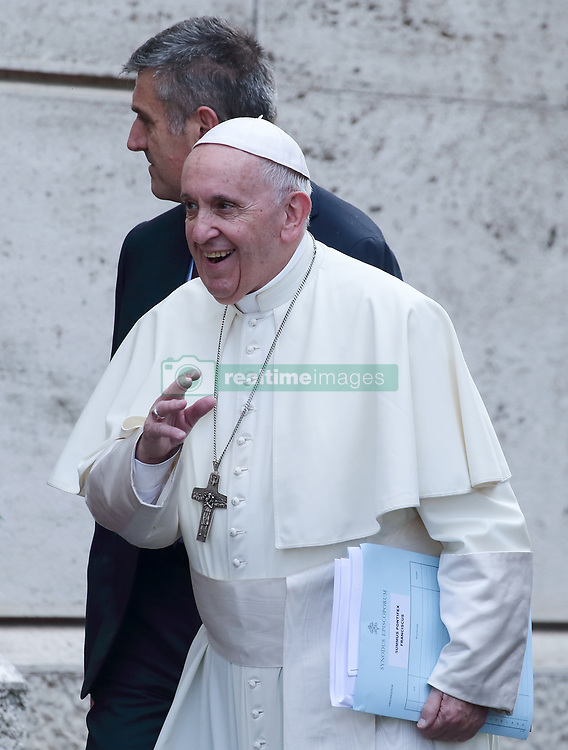 October 9,  2018  - Vatican City (Holy See)  POPE FRANCIS arrives at the Synod 2018 at the Vatican. (Credit Image: © Evandro Inetti/ZUMA Wire)
