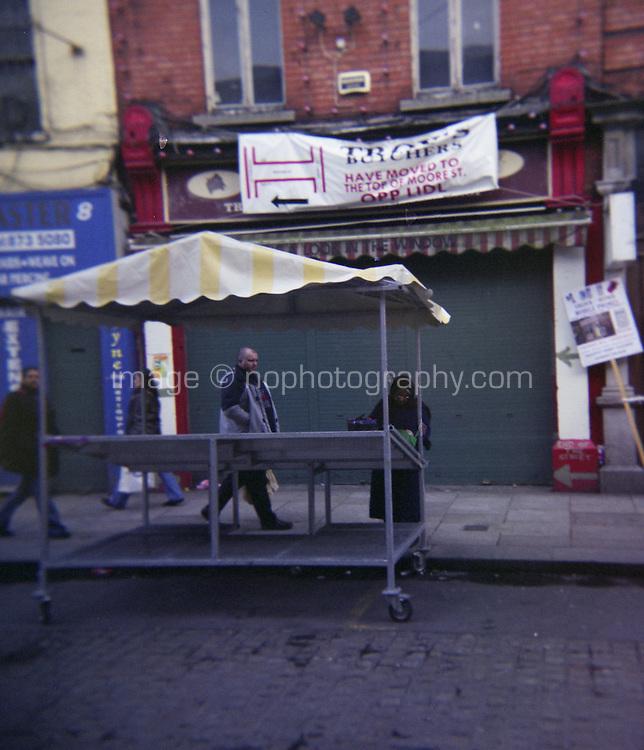 Empty market stalls at Moore Street in Dublin Ireland