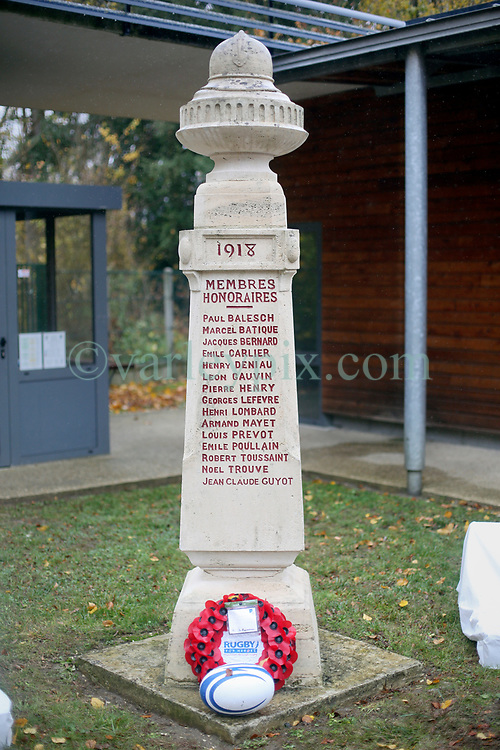 10 November 2018. Rugby Club Compiègne. Compèigne, Somme, France.<br /> Tournio Rugby de l'Armistice.<br /> A rugby tournament in the heart of the Somme region in honour of those who perished in the Great War100 years ago.<br /> <br /> The Rugby Club Compiègne memorial honouring those who perished in the Great War.<br /> <br /> Photo©; Charlie Varley/varleypix.com