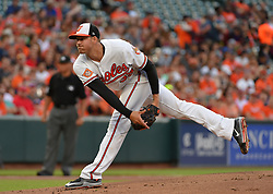 June 21, 2017 - Baltimore, MD, USA - The Baltimore Orioles' Kevin Gausman pitches aginst the Cleveland Indians at Oriole Park at Camden Yards in Baltimore on Wednesday, June 21, 2017. The Indians won, 5-1. (Credit Image: © Lloyd Fox/TNS via ZUMA Wire)