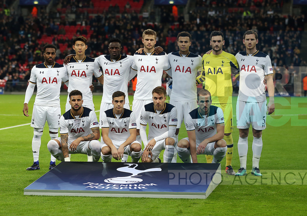 Tottenham's team group during the Champions League group match at Wembley Stadium, London. Picture date December 7th, 2016 Pic David Klein/Sportimage