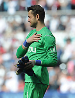 An emotional Swansea City's Lukasz Fabianski thanks the fans after Swansea City are relegated from the Premier league<br /> <br /> Photographer Ian Cook/CameraSport<br /> <br /> The Premier League - Swansea City v Stoke City - Sunday 13th May 2018 - Liberty Stadium - Swansea<br /> <br /> World Copyright © 2018 CameraSport. All rights reserved. 43 Linden Ave. Countesthorpe. Leicester. England. LE8 5PG - Tel: +44 (0) 116 277 4147 - admin@camerasport.com - www.camerasport.com