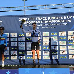 Loe van Belle pakt de Europese scratch titel bij de junioren zilver voor Noah VANDENBRANDEN  BELGIUM en brons <br />Laurin DRESCHER Laurin