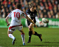 Toby Flood (Leicester) receives the ball - Photo mandatory by-line: Patrick Khachfe/JMP - Tel: Mobile: 07966 386802 18/01/2014 - SPORT - RUGBY UNION - Welford Road, Leicester - Leicester Tigers v Ulster Rugby - Heineken Cup.