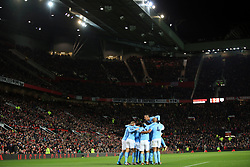 10 December 2017 -  Premier League - Manchester United v Manchester City - City players celebrate the first goal - Photo: Marc Atkins/Offside