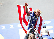 April 21, 2014 - Boston, Massachusetts, U.S. - <br /> <br /> Boston Marathon 2014<br /> <br /> MEB KEFLEZIGHI, of USA, places first in the 2014 Boston Marathon men's race with a time of 2:08:37. Keflezighi became the first American male to win the race since1983. Almost 36,000 runners crossed the starting line at the Boston Marathon  Monday a year after the bombing that killed three people and injured 264. <br /> ©Exclusivepix