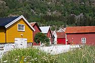 Colouful wooden buildings in Solvorn, Lustra Fjord, Vestlandet, Norway