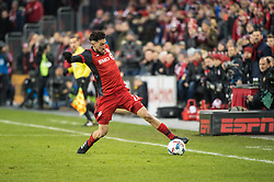 December 9, 2017 - Toronto, Ontario, Canada - Toronto FC midfielder JONATHAN OSORIO (21) saves the ball from going out of bounds along the sideline during the MLS Cup championship match at BMO Field in Toronto, Canada.  Toronto FC defeats Seattle Sounders 2 to 0. (Credit Image: © Mark Smith via ZUMA Wire)