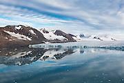 The calving terminus of Samarinbreen, a tidewater glacier in Hornsund, Svalbard.
