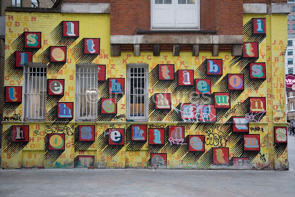 Alphabet street art in London, England, United Kingdom.