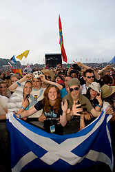 Fans at Fat Boy Slim on the main stage. Rockness, Saturday 7th June 2008..Pic © Michael Schofield. All Rights Reserved.
