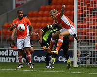 Blackpool's Brad Potts attacks the Bury defence<br /> <br /> Photographer Stephen White/CameraSport<br /> <br /> Football - Pre-Season Friendly - Blackpool v Bury - Saturday 30 July 2016 - Bloomfield Road - Blackpool<br /> <br /> World Copyright © 2016 CameraSport. All rights reserved. 43 Linden Ave. Countesthorpe. Leicester. England. LE8 5PG - Tel: +44 (0) 116 277 4147 - admin@camerasport.com - www.camerasport.com