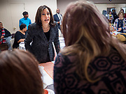 10 NOVEMBER 2019 - FT. DODGE, IOWA: US Senator KAMALA HARRIS (D-CA) talks to congregants at 2nd Baptist Church before services at the church Sunday.  Sen. Harris taught a biblical lesson at 2nd Baptist Church in Ft. Dodge as a part of her campaign to be the Democratic nominee for the US presidency in 2020. Iowa traditionally holds the first selection of the presidential election cycle. The Iowa caucuses are Feb. 3, 2020.        PHOTO BY JACK KURTZ