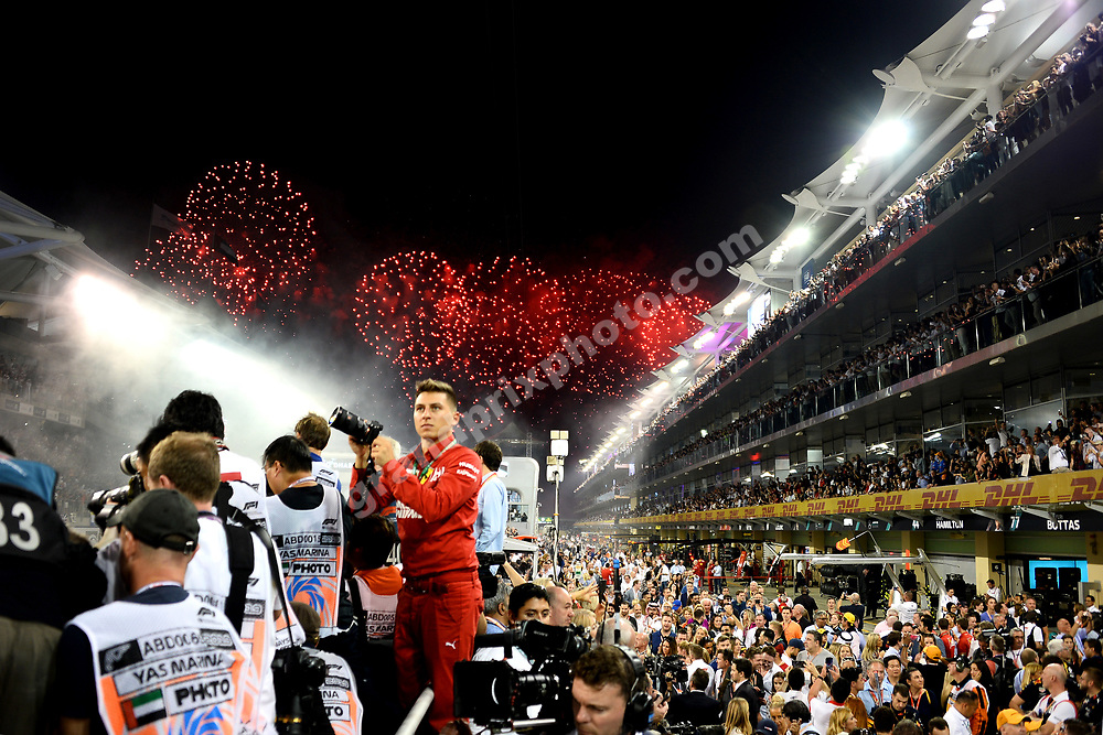 Celebrations and fireworks after the 2019 Abu Dhabi Grand Prix at Yas Marina. Photo: Grand Prix Photo