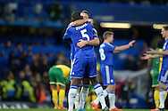 John Terry, the Chelsea captain celebrates the win with Kurt Zouma of Chelsea after the final whistle. Barclays Premier league match, Chelsea v Norwich city at Stamford Bridge in London on Saturday 21st November 2015.<br /> pic by John Patrick Fletcher, Andrew Orchard sports photography.