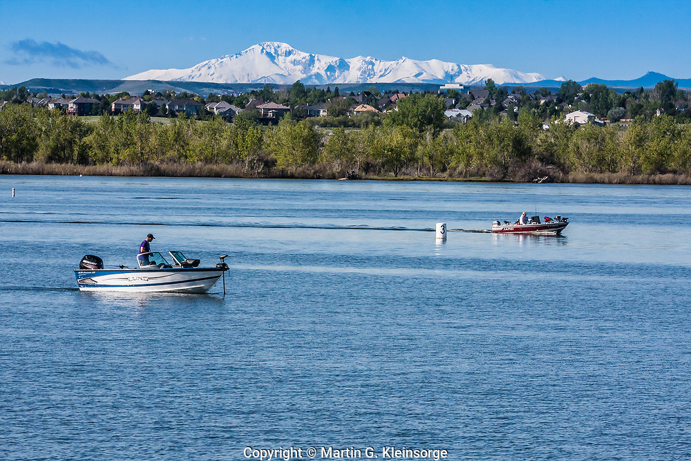 Boating and fishing are popular activities at Cherry Creek State Park, Colorado.