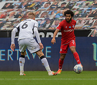 Bristol City's Jay Dasilva (right) under pressure from Swansea City's Jay Fulton (left) <br /> <br /> Photographer David Horton/CameraSport<br /> <br /> The EFL Sky Bet Championship - Swansea City v Bristol City- Saturday 18th July 2020 - Liberty Stadium - Swansea<br /> <br /> World Copyright © 2019 CameraSport. All rights reserved. 43 Linden Ave. Countesthorpe. Leicester. England. LE8 5PG - Tel: +44 (0) 116 277 4147 - admin@camerasport.com - www.camerasport.com