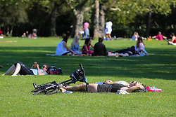 © Licensed to London News Pictures. 13/09/2020. London, UK. People enjoy warm and sunny weather in Finsbury Park, north London as mini heatwave hits London. Photo credit: Dinendra Haria/LNP