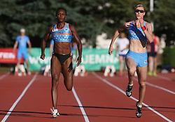 Merlene Ottey and Pia Tajnikar at Athletic National Championship of Slovenia, on July 19, 2008, in Stadium Poljane, Maribor, Slovenia. (Photo by Vid Ponikvar / Sportal Images).