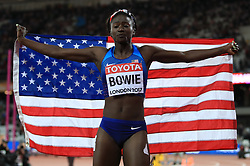 USA's Tori Bowie after winning the Women's 100m final during day three of the 2017 IAAF World Championships at the London Stadium. PRESS ASSOCIATION Photo. Picture date: Sunday August 6, 2017. See PA story ATHLETICS World. Photo credit should read: John Walton/PA Wire. RESTRICTIONS: Editorial use only. No transmission of sound or moving images and no video simulation.