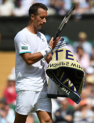 LONDON, ENGLAND - Monday, July 1, 2019: Philipp Kohlschreiber (GER) dries his hands with a towel during the Gentlemen's Singles first round match on Day One of The Championships Wimbledon 2019 at the All England Lawn Tennis and Croquet Club. (Pic by Kirsten Holst/Propaganda)