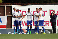 Nathan Cameron of Bury (27) celebrates with his teammates after scoring his teams 1st goal. Skybet football league one match , Bury v Wigan Athletic at the JD Stadium in Bury, Lancs on Saturday 10th October 2015.<br /> pic by Chris Stading, Andrew Orchard sports photography.