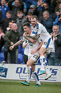 Cole Stockton (Tranmere Rovers) celebrates scoring his goal with James Norwood (Tranmere Rovers) in front of the fans. 1-0 (4-0 on aggregate) to the home team during the Vanarama National League second leg play off match between Tranmere Rovers and Aldershot Town at Prenton Park, Birkenhead, England on 6 May 2017. Photo by Mark P Doherty.