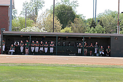 09 May 2014:  Titan dugout during an NCAA Division III Championship Series women's softball game between the Lake Forest Foresters and the Illinois Wesleyan Titans in Bloomington IL