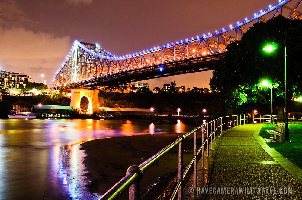 Brisbane's Story Bridge at night from Captain Burke Park looking along Brisbane River