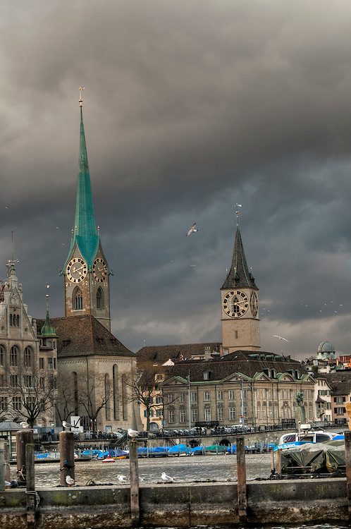 Church bell towers in Zürich HDR image