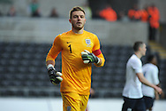 England goalkeeper Jack Butland looks on. UEFA 2015 European U21 championship, group one qualifier , Wales u21 v England u21 at the Liberty Stadium in Swansea, South Wales on Monday 19th May 2014. <br /> pic by Andrew Orchard, Andrew Orchard sports photography.