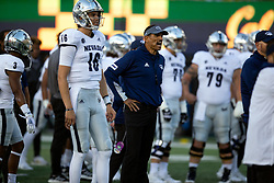 Nevada head coach Jay Norvell watches his team prepare for an NCAA college football game against California, Saturday, Sept. 4, 2021, in Berkeley, Calif. (AP Photo/D. Ross Cameron)