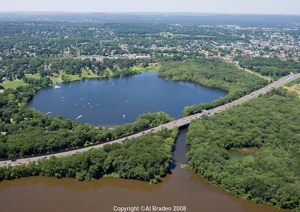 Aerial of Wethersfield Cove was formed in the flood of 1690 when the Connecticut River changed course, stranding the harbor.