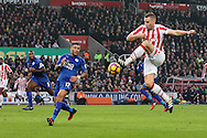 Ryan Shawcross of Stoke City looks to control the ball. Premier league match, Stoke City v Leicester City at the Bet365 Stadium in Stoke on Trent, Staffs on Saturday 17th December 2016.<br /> pic by Chris Stading, Andrew Orchard sports photography.