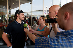Gaspet Kopitar at Slovenian ice-hockey player NHL Champion Anze Kopitar welcome ceremony when he arrived home after winning Stanley Cup at the end of season 2011/2012, on June 20, 2012, at airport Jozeta Pucnika, Brnik, Slovenia. (Photo By Matic Klansek Velej / Sportida)