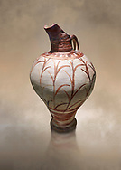 Tall elegant Minoan polychrome jug decorated with reeds, Akrotiri, Thira (Santorini) National Archaeological Museum Athens. 17th-16th cent BC. .<br /> <br /> If you prefer to buy from our ALAMY PHOTO LIBRARY  Collection visit : https://www.alamy.com/portfolio/paul-williams-funkystock/minoan-art-artefacts.html . Type -   Athens    - into the LOWER SEARCH WITHIN GALLERY box. Refine search by adding background colour, place, museum etc<br /> <br /> Visit our MINOAN ART PHOTO COLLECTIONS for more photos to download  as wall art prints https://funkystock.photoshelter.com/gallery-collection/Ancient-Minoans-Art-Artefacts-Antiquities-Historic-Places-Pictures-Images-of/C0000ricT2SU_M9w