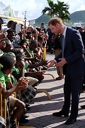Kensington Palace handout photo of Prince Harry meets the public at Port Zante after arriving on the island of St Kitts for the second leg of his Caribbean tour.