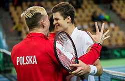 Mateusz Kowalczyk,  Hubert Hurkacz of Poland celebrate after winning during the Day 2 of Davis Cup 2018 Europe/Africa zone Group II between Slovenia and Poland, on February 4, 2018 in Arena Lukna, Maribor, Slovenia. Photo by Vid Ponikvar / Sportida