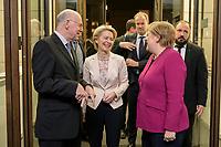 08 NOV 2019, BERLIN/GERMANY:<br /> Norbert Lammert (L), CDU, Praesident der KAS, Ursula von der Leyen (M), gewaehlte EU-Kommissionspräsidentin,  und Angela Merkel (R), CDU, Bundeskanzlerin, im Gespraech vor Beginn der Europa Rede, in diesem Jahr gehalten von Ursula von der Leyen, einer jaehrlich wiederkehrende Stellungnahme der hoechsten Repraesentanten der Europaeischen Union zur Idee und zur Lage Europas, organisiert von der Konrad-Adenauer-Stiftung, der Stiftung Zukunft Berlin und der Stiftung Mercator, Allianz Forum<br /> IMAGE: 20191108-01-019