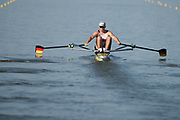 Plovdiv BULGARIA. 2017 FISA. Rowing World U23 Championships. <br /> GER BM1X, WEBER, Marc, at the start of his heat in the Men's Single Sculls.<br /> Wednesday. PM,  Heats 18:15:11  Wednesday  19.07.17   <br /> <br /> [Mandatory Credit. Peter SPURRIER/Intersport Images].