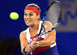 WUHAN, Sept. 27, 2017 Dominika Cibulkova of Slovakia returns the ball during the singles third round match against Caroline Garcia of France at 2017 WTA Wuhan Open in Wuhan, capital of central China's Hubei Province, on Sept. 27, 2017. Dominika Cibulkova lost 0-2.  wll) (Credit Image: © Cheng Min/Xinhua via ZUMA Wire)